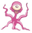 Adorable pink alien monster